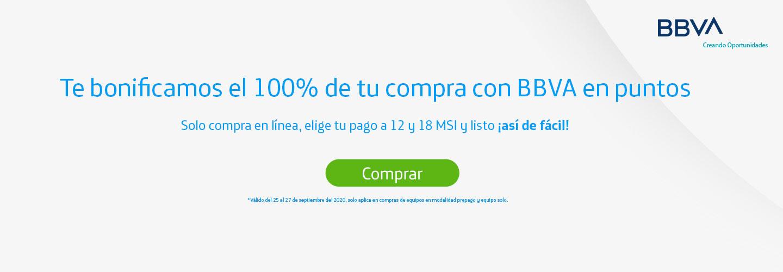 Te bonificamos el %100 de tu compra con BBVA en puntos. Solo compra en línea, elige tu pago a 9 y 18 MSI y listo ¡así de fácil!