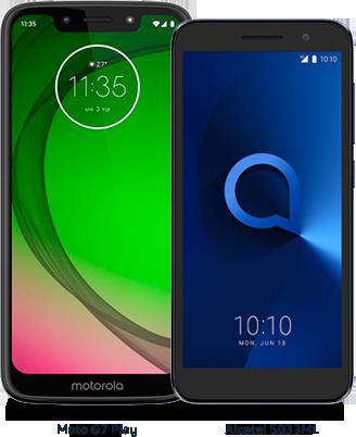 Moto G7 Play y Alcatel 5033ML