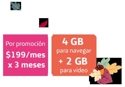 Por promoción $199/mes x 3 meses. 4 GB para navegar + 2 GB para video